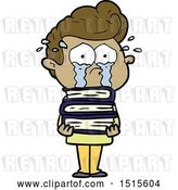 Vector Clip Art of Retro Cartoon Crying Student with Stack of Books by Lineartestpilot