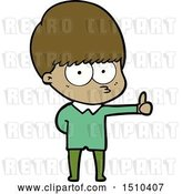 Vector Clip Art of Retro Cartoon Curious Boy Giving Thumbs up Sign by Lineartestpilot