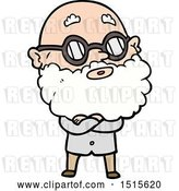 Vector Clip Art of Retro Cartoon Curious Guy with Beard and Glasses by Lineartestpilot