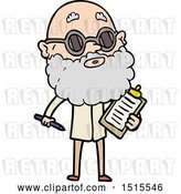 Vector Clip Art of Retro Cartoon Curious Guy with Beard and Sunglasses by Lineartestpilot