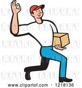 Vector Clip Art of Retro Cartoon Delivery Guy Gesturing Ok and Carrying a Package by Patrimonio