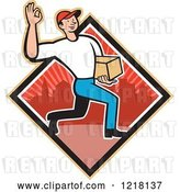 Vector Clip Art of Retro Cartoon Delivery Guy Gesturing Ok and Carrying a Package in a Red Urban Diamond by Patrimonio