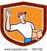 Vector Clip Art of Retro Cartoon Delivery Guy Gesturing Ok and Carrying a Parcel in an Orange Marroon and White Shield by Patrimonio