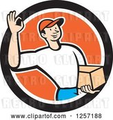 Vector Clip Art of Retro Cartoon Delivery Guy Gesturing Ok and Carrying a Parcel in an Orange White and Black Circle by Patrimonio