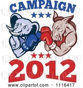 Vector Clip Art of Retro Cartoon Democratic Donkey and Republican Elephant Boxing with Campaign 2012 Text by Patrimonio