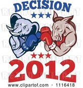Vector Clip Art of Retro Cartoon Democratic Donkey and Republican Elephant Boxing with Decision 2012 Text by Patrimonio