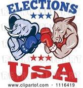 Vector Clip Art of Retro Cartoon Democratic Donkey and Republican Elephant Boxing with Elections USA Text by Patrimonio
