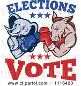 Vector Clip Art of Retro Cartoon Democratic Donkey and Republican Elephant Boxing with Elections Vote Text by Patrimonio