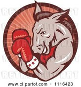 Vector Clip Art of Retro Cartoon Democratic Donkey Boxer in a Red Ray Circle by Patrimonio