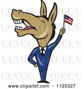Vector Clip Art of Retro Cartoon Democratic Donkey in a Suit Waving an American Flag by Patrimonio