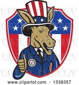 Vector Clip Art of Retro Cartoon Democratic Party Donkey Uncle Sam Giving a Thumb up and Emerging from an American Shield by Patrimonio