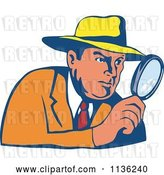 Vector Clip Art of Retro Cartoon Detective Peering Through a Magnifying Glass by Patrimonio