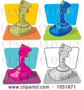 Vector Clip Art of Retro Cartoon Digital Collage of Video Game Joysticks by Any Vector