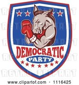 Vector Clip Art of Retro Cartoon Donkey Boxer on a Democratic Party Shield by Patrimonio