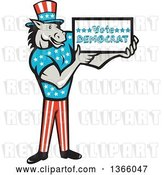 Vector Clip Art of Retro Cartoon Donkey Wearing a Top Hat and Holding a Vote Democrat Sign by Patrimonio