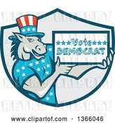 Vector Clip Art of Retro Cartoon Donkey Wearing a Top Hat and Holding a Vote Democrat Sign in a Shield by Patrimonio