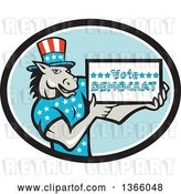 Vector Clip Art of Retro Cartoon Donkey Wearing a Top Hat and Holding a Vote Democrat Sign in an Oval by Patrimonio