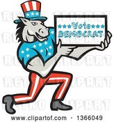 Vector Clip Art of Retro Cartoon Donkey Wearing a Top Hat, Kneeling and Holding a Vote Democrat Sign by Patrimonio