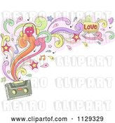 Vector Clip Art of Retro Cartoon Doodled Cassette Tape with Swirls Splashes Notes and Stars by BNP Design Studio