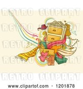 Vector Clip Art of Retro Cartoon Dresser with Accessories and Clothes over Tan Grunge by BNP Design Studio