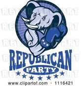 Vector Clip Art of Retro Cartoon Elephant Boxer in a Circle Above Republican Party Text by Patrimonio