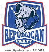 Vector Clip Art of Retro Cartoon Elephant Boxer in a Republican Party Shield by Patrimonio