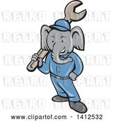 Vector Clip Art of Retro Cartoon Elephant Guy Mechanic Holding a Giant Spanner Wrench by Patrimonio