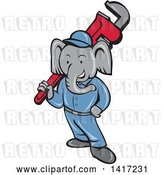 Vector Clip Art of Retro Cartoon Elephant Guy Plumber Holding a Giant Monkey Wrench by Patrimonio