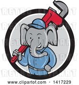 Vector Clip Art of Retro Cartoon Elephant Guy Plumber Holding a Giant Monkey Wrench, Emerging from a Black White and Gray Circle by Patrimonio