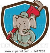 Vector Clip Art of Retro Cartoon Elephant Guy Plumber Holding a Giant Monkey Wrench, Emerging from a Brown White and Blue Shield by Patrimonio