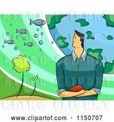 Vector Clip Art of Retro Cartoon Environmental Scientist Guy with the Earth Plants and Fish by BNP Design Studio