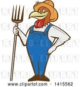 Vector Clip Art of Retro Cartoon Farmer Rooster Chicken Guy Wearing Overalls and a Straw Hat, Holding a Pitchfork by Patrimonio