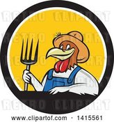Vector Clip Art of Retro Cartoon Farmer Rooster Chicken Guy Wearing Overalls and a Straw Hat, Holding a Pitchfork in a Black White and Yellow Circle by Patrimonio