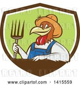 Vector Clip Art of Retro Cartoon Farmer Rooster Chicken Guy Wearing Overalls and a Straw Hat, Holding a Pitchfork in a Brown White and Green Shield by Patrimonio