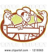 August 9th, 2018: Vector Clip Art of Retro Cartoon Farmer with a Goose and Rooster at a Fence over Rays by Patrimonio