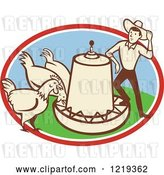 Vector Clip Art of Retro Cartoon Farmer with Chickens at a Feeder in an Oval by Patrimonio
