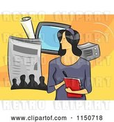 Vector Clip Art of Retro Cartoon Female Journalist by BNP Design Studio