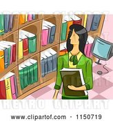 Vector Clip Art of Retro Cartoon Female Librarian by BNP Design Studio