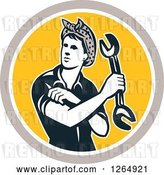 Vector Clip Art of Retro Cartoon Female Mechanic Holding a Wrench and Rolling up Her Sleeves in a Taupe White and Yellow Circle by Patrimonio