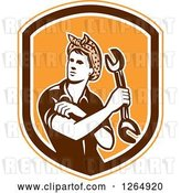 Vector Clip Art of Retro Cartoon Female Mechanic Holding a Wrench and Rolling up Her Sleeves in an Orange White and Brown Shield by Patrimonio