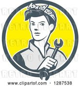 Vector Clip Art of Retro Cartoon Female Mechanic Holding a Wrench in a Gray White and Yellow Circle by Patrimonio
