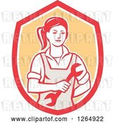 Vector Clip Art of Retro Cartoon Female Mechanic Holding a Wrench in a Red White and Orange Shield by Patrimonio