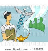 Vector Clip Art of Retro Cartoon Female Nurse with a Caduceus Oil Lamp and People by BNP Design Studio