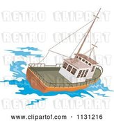 Vector Clip Art of Retro Cartoon Fishing Boat at Sea by Patrimonio