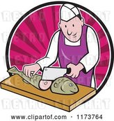 Vector Clip Art of Retro Cartoon Fishmonger Sushi Chef Chopping a Fish over a Pink Circle of Rays by Patrimonio