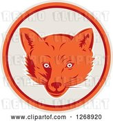 Vector Clip Art of Retro Cartoon Fox Face in a Gray Orange and Maroon Circle by Patrimonio