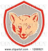 Vector Clip Art of Retro Cartoon Fox Face in a Gray Red and White Shield by Patrimonio