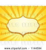 Vector Clip Art of Retro Cartoon Frame over Orange and Yellow Rays by Visekart