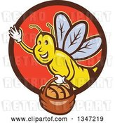 Vector Clip Art of Retro Cartoon Friendly Bee Flying with a Bread Basket in a Brown and Red Circle by Patrimonio