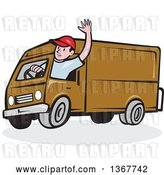 Vector Clip Art of Retro Cartoon Friendly White Male Delivery Truck Driver Waving by Patrimonio